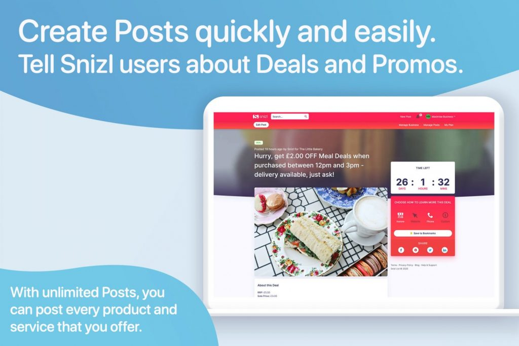 create posts quickly and easily with deals and promos