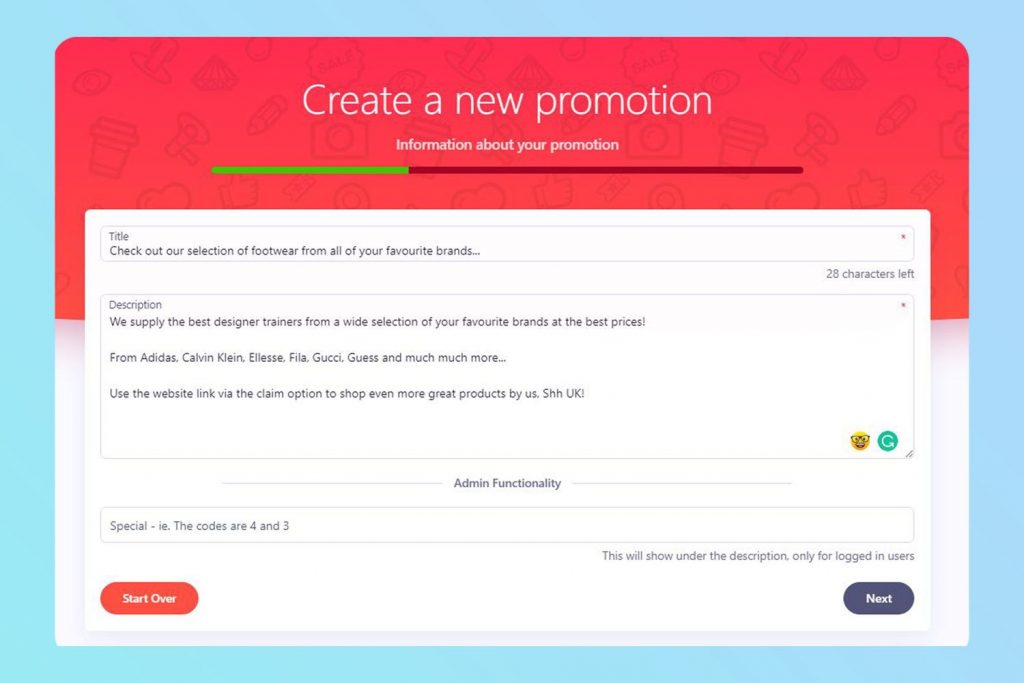 Here, Shh UK Fashion is marketing their product by creating a Promotion post