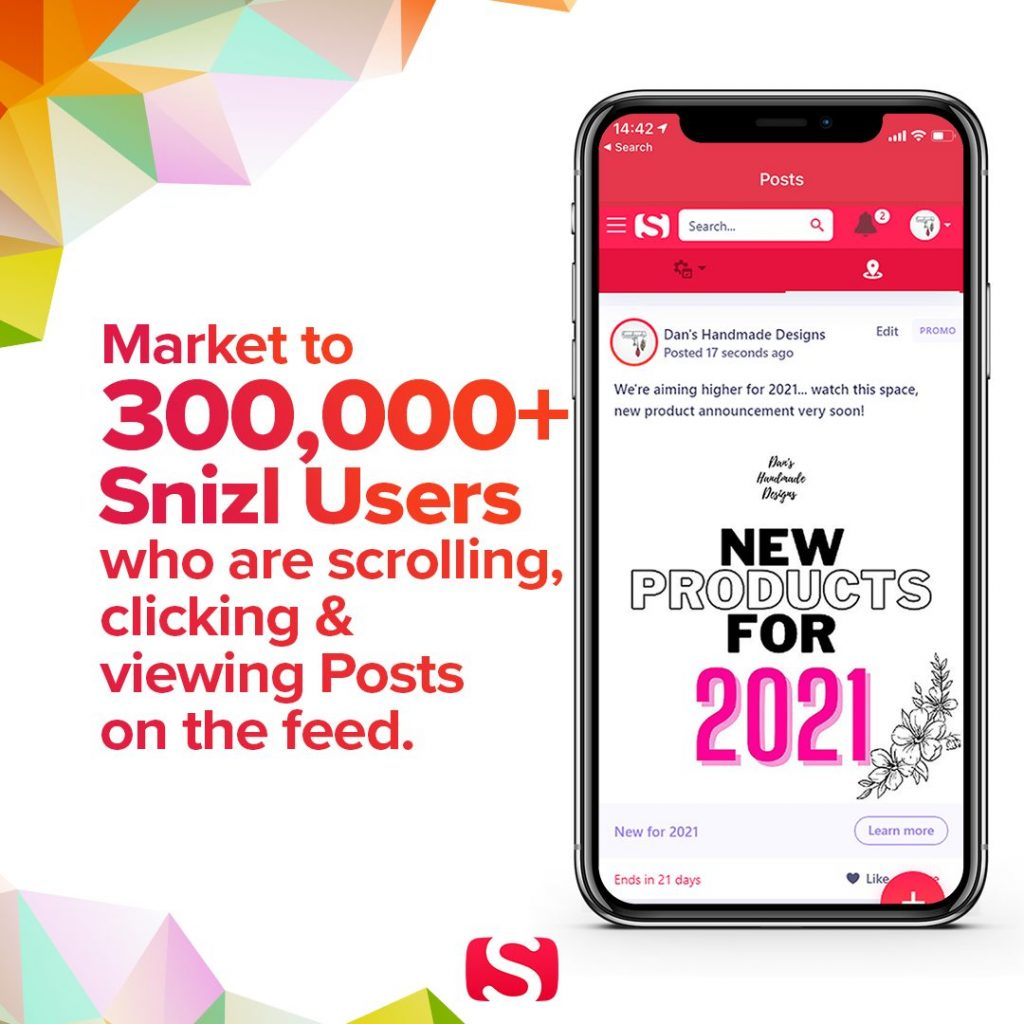 Post your product/service to Snizl for FREE and have your brand seen by 300,000 Snizl users.