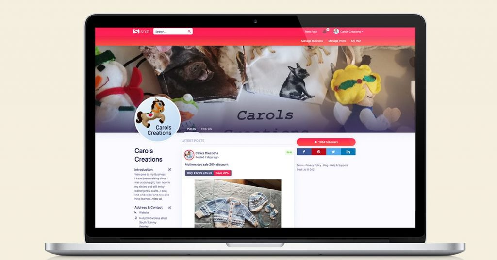 Carols Creations business page on Snizl. All fields are filled out perfectly with the help from our team here at Snizl.