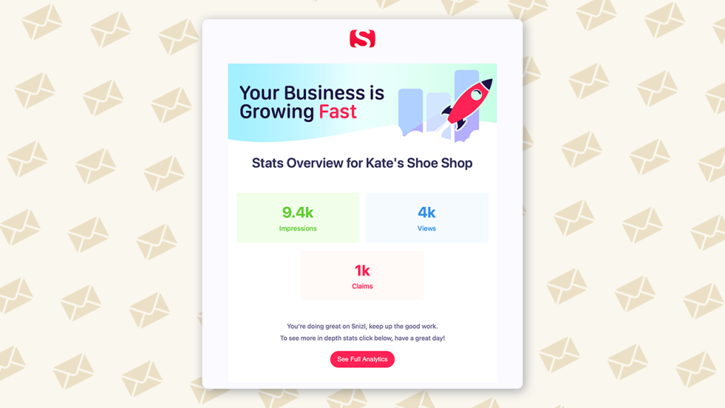The Analytics Email will be sent on a regular basis to Snizl Business Owners  to help monitor progress and highlight which Posts Snizl Users are enjoying and interacting with the most.