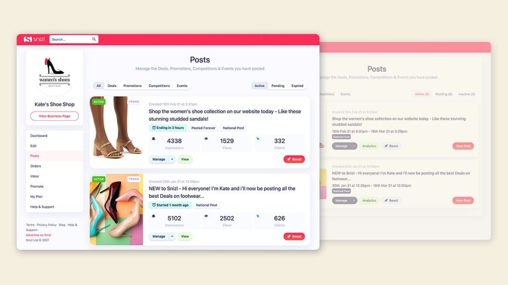 The new and improved Post Management section means you can monitor and manage your Deals, Promotions, Competitions and Events better on Snizl - for higher engagement rates.