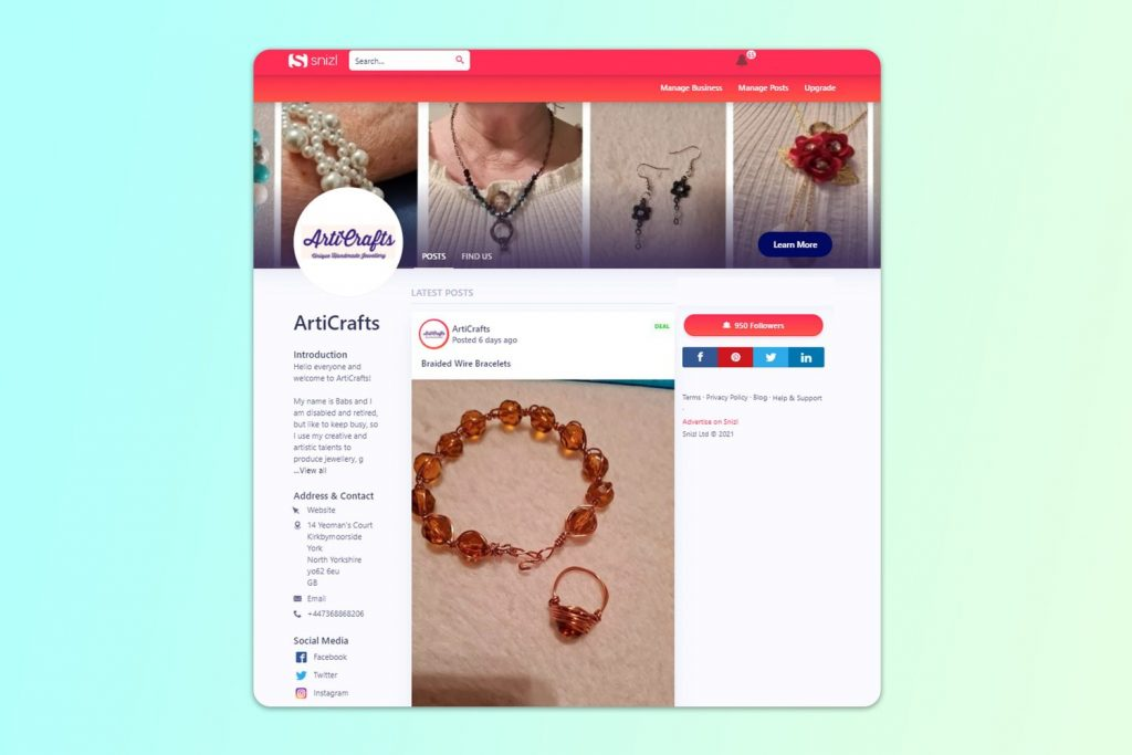 Selling stunning handmade jewellery, this is ArtiCrafts' business page - a Snizl Success Story